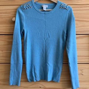 Carmen Marc Valvo Blue Lace-Up Shoulder Sweater L